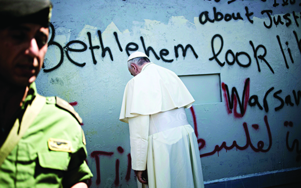 Pope Francis at the separation barrier in Bethlehem.