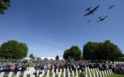 The fly pass before the Service of Remembrance at the Commonwealth War Graves Commission Cemetery, Bayeux.