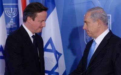 Prime Minister David Cameron with Israeli Prime Minister Benjamin Netanyahu in Israel, March 2014.