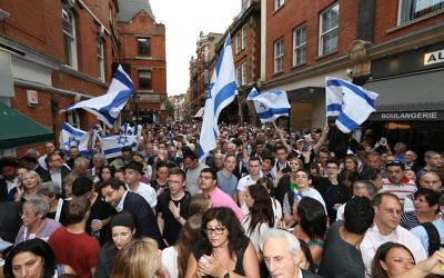 More than 600 people gathered outside London's Israeli embassy on Wednesday night.  Picture: Marc Morris