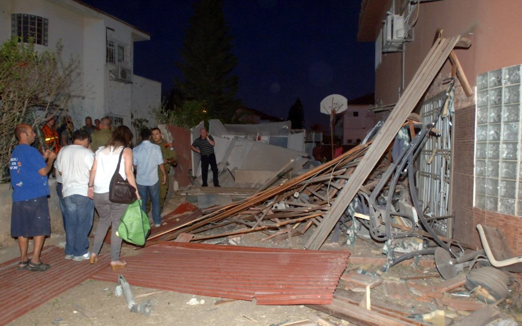 A house is destroyed by a Hamas rocket in Beer Sheba.