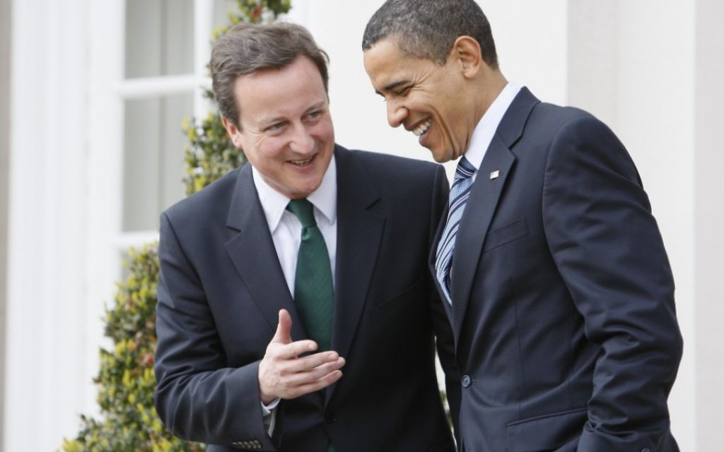 David Cameron with Barack Obama at the White House.