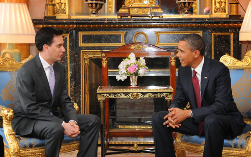 President Barack Obama meeting Ed Miliband at Buckingham Palace in 2011. The Labour leader will arrive at the White House today.
