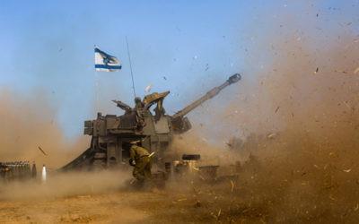 An Israeli tank near the Gaza border