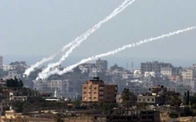 Rockets launched from the Gaza Strip towards southern Israel.