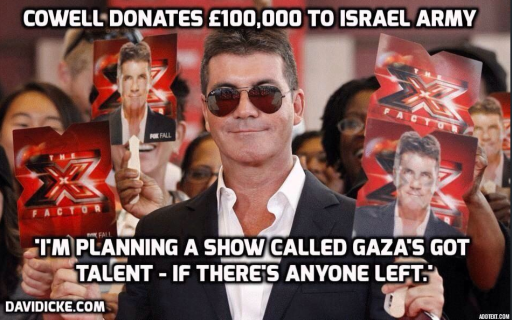 A spoof image attacking Cowell that is circulating on Twitter