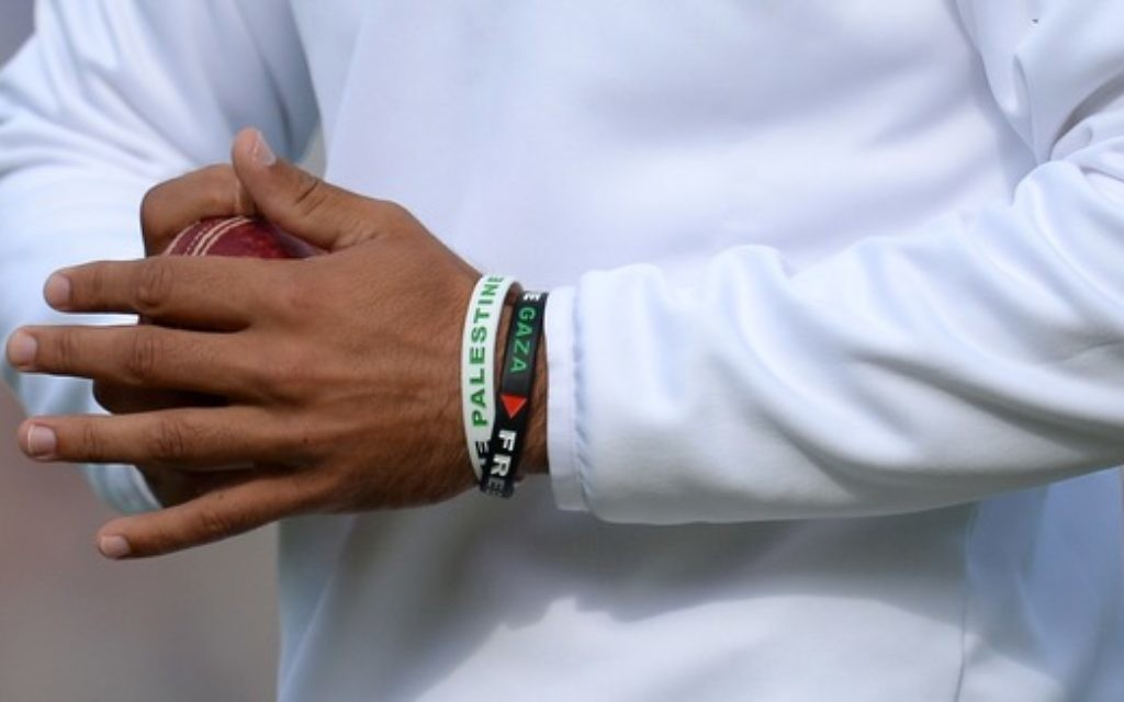 Moeen Ali wore a wristband declaring his support for the population of Gaza.