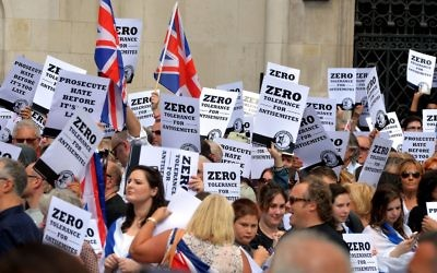 Protest against the rise of anti Jewish sentiment in the UK and Europe.