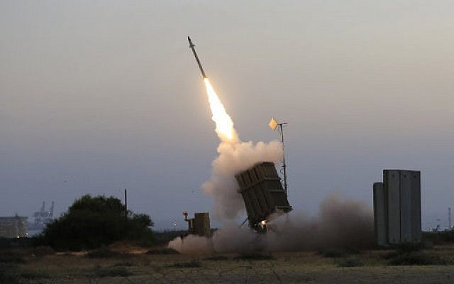 An Iron Dome air defence system fires to intercept a rocket from Gaza Strip.