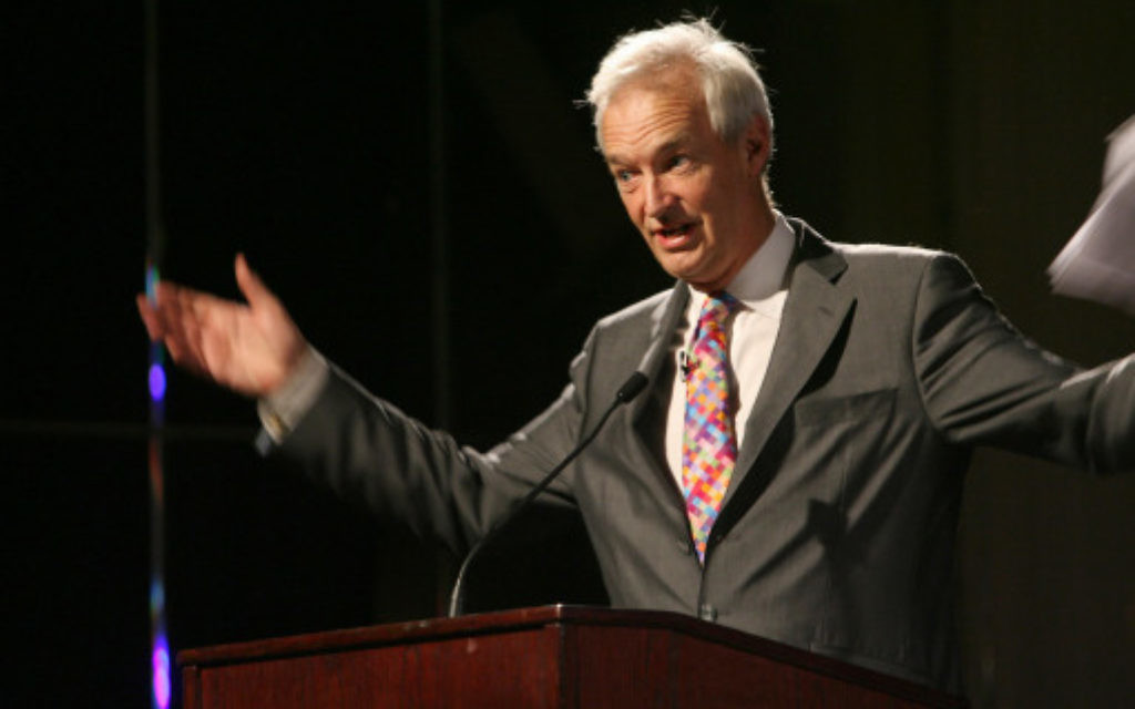 Jon Snow at a Medical Aid for Palestinians benefit evening for Gaza in London in 2009.