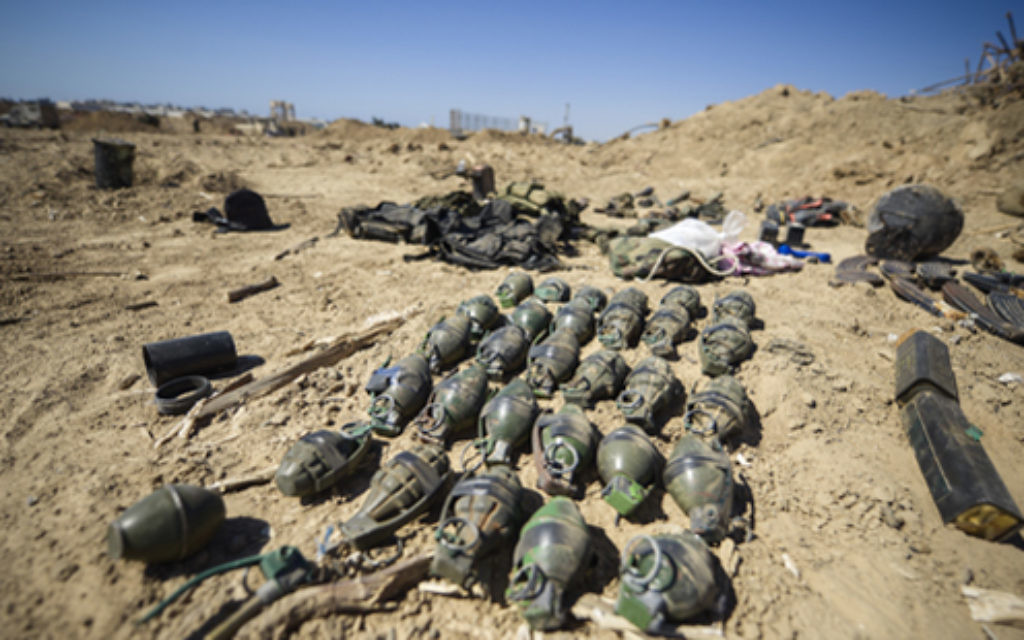Arms and munition found in a Hamas tunnel in Rafah, Southern Gaza Strip.