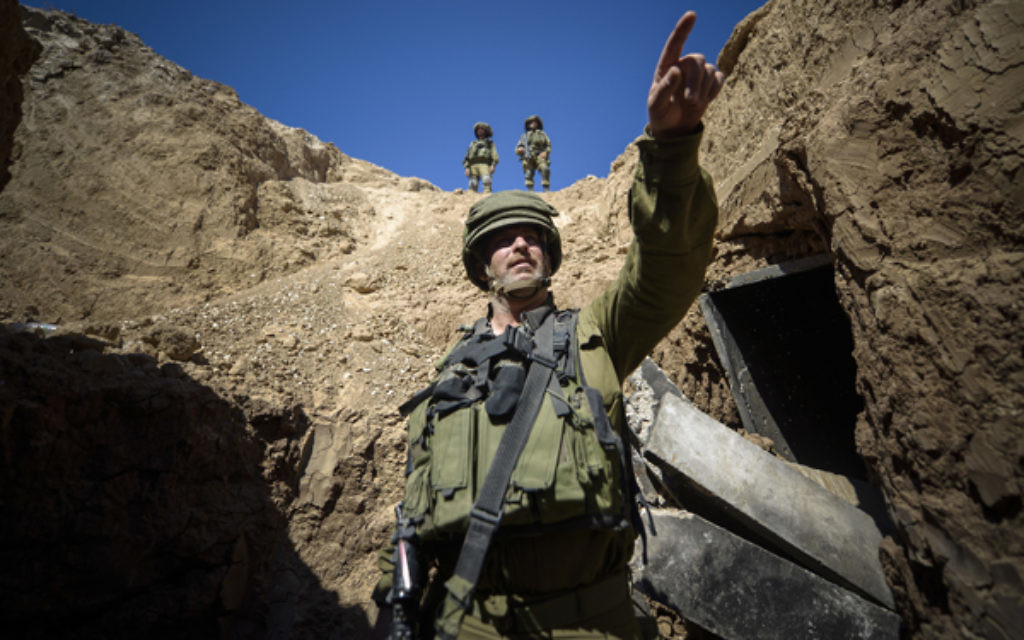 An IDF soldier in a Hamas tunnel in Rafah, Gaza