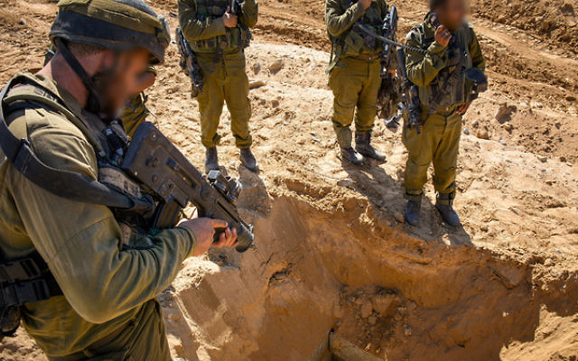 IDF soldiers at the opening of a Hamas tunnel (2014)