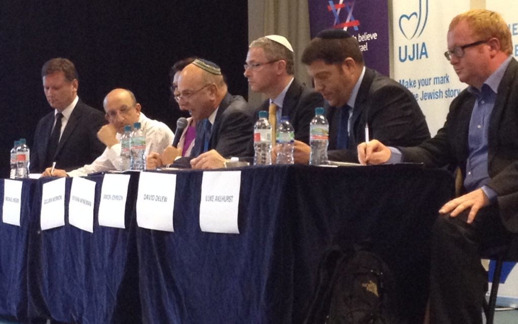 The panel of Jewish leaders included Bicom's Dermot Kehoe, Gillian Merron of the BoD, Simon Johnson of the Jewish Leadership Council, David Delew of the CST and Michael Wegier of UJIA.