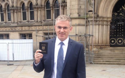 What Israel-free zone? Israel Ambassador Taub outside Bradford City Hall following a session of meetings yesterday