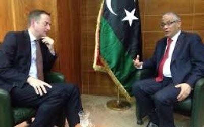 David Quarrey (left) with former Libyan premier Ali Zeidan.