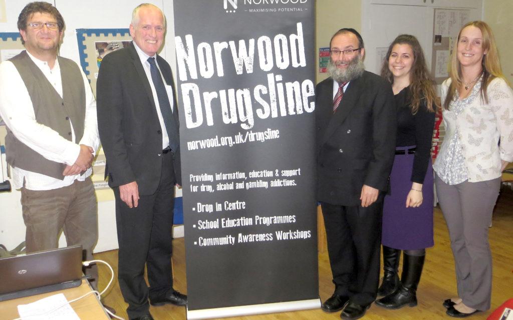 L-R it's Steven Mervish, David Harris (Director of Development at Norwood), Rabbi Sufrin, Chavi Sufrin and Lynsey Robertson.