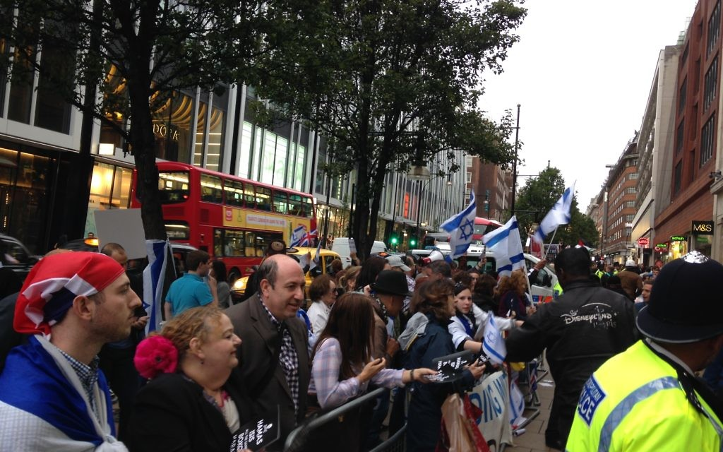 The pro-Israel crowd makes its voice heard.