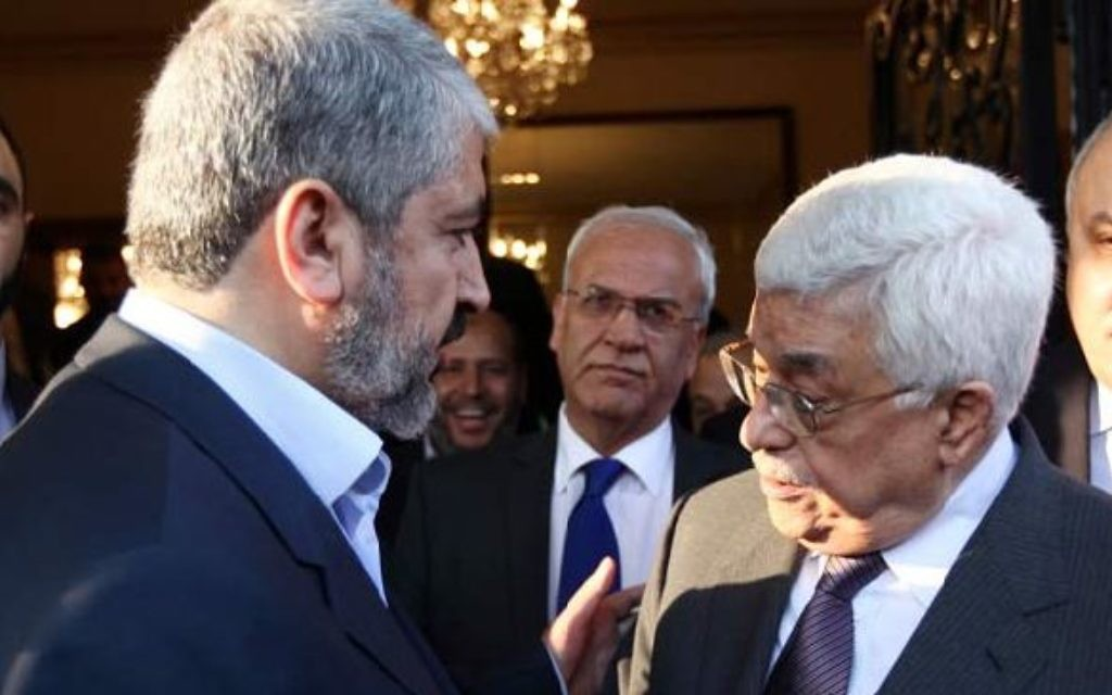 Khaled Meshaal of Hamas with Palestinian Authority chief Mahmoud Abbas.