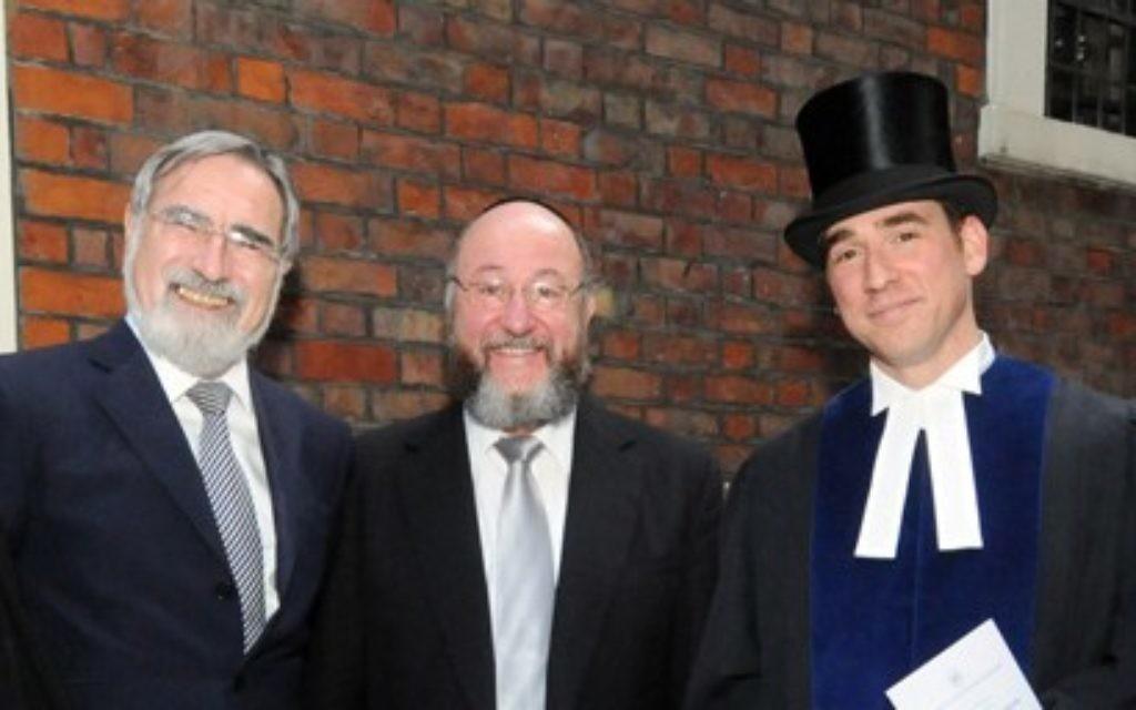 Rabbi Dwek with his predecessor, Rabbi Abraham Levi, former and current chief Rabbis and the Israeli Ambassador to the UK Daniel Taub,