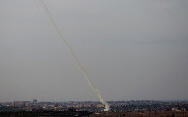 A rocket fired from Gaza during the 2014 conflict