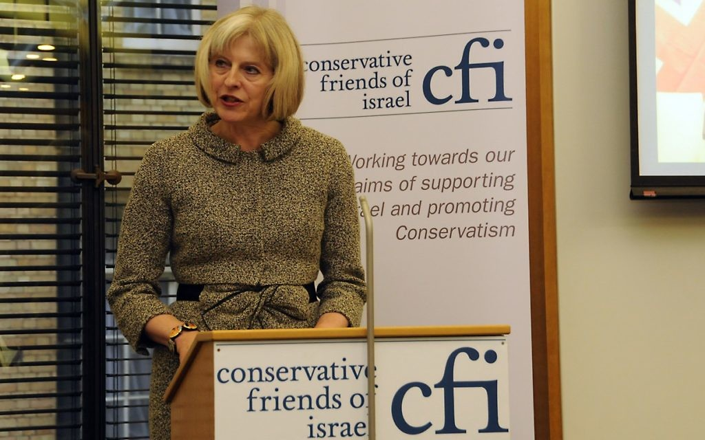 Theresa May speaking at a Conservative friends of Israel event