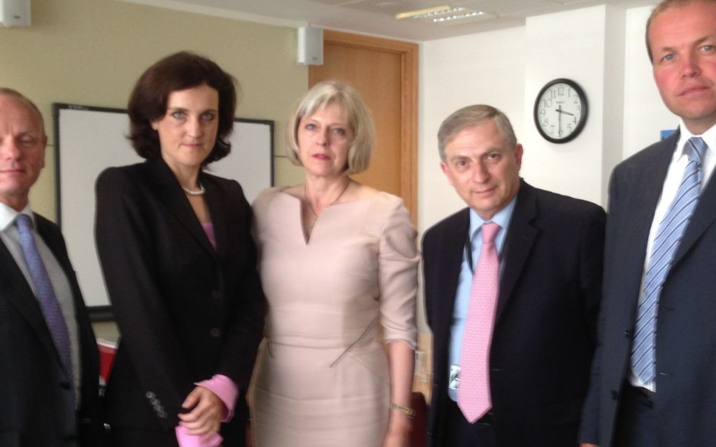 MPs - Left to right: Mike Freer,  Theresa Villiers, Theresa  May, Lee Scott and David Burrowes