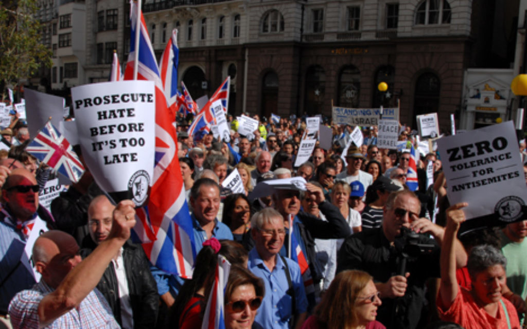 Demonstrators at a London rally  demanding zero tolerance of anti-Semitism.