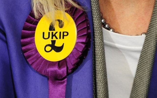 A UKIP candidate with a rosette