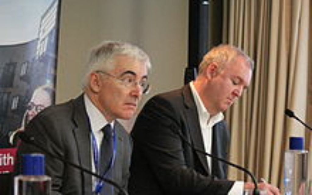 Freud (left) speaking in 2013.