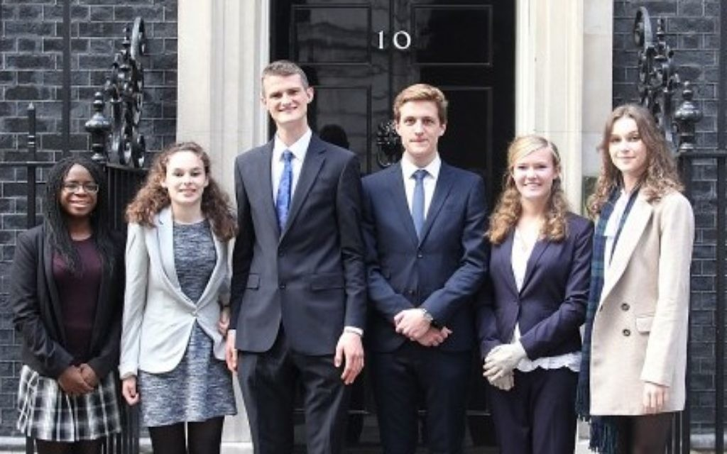 Winners of the Prime Minister's Holocaust Commission youth essay writing competition outside 10 Downing Street.
