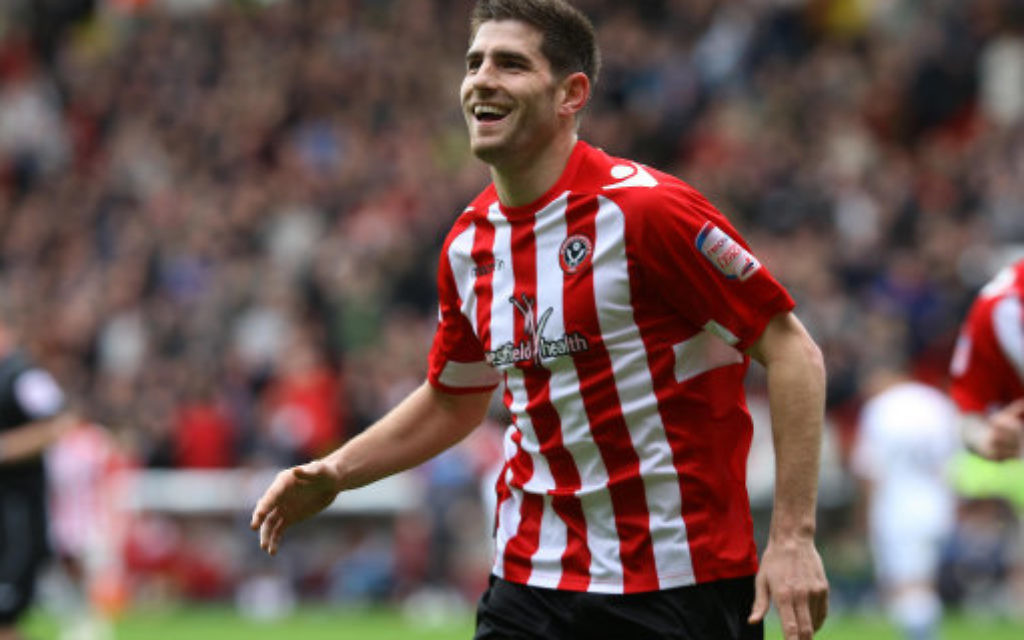 Sheffield United's Ched Evans celebrates scoring s goal in 2012.