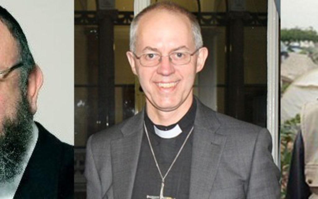 L-R: Chief Rabbi Ephraim Mirvis, Archbishop of Canterbury Justin Welby and Shaykh Ibrahim Mogra