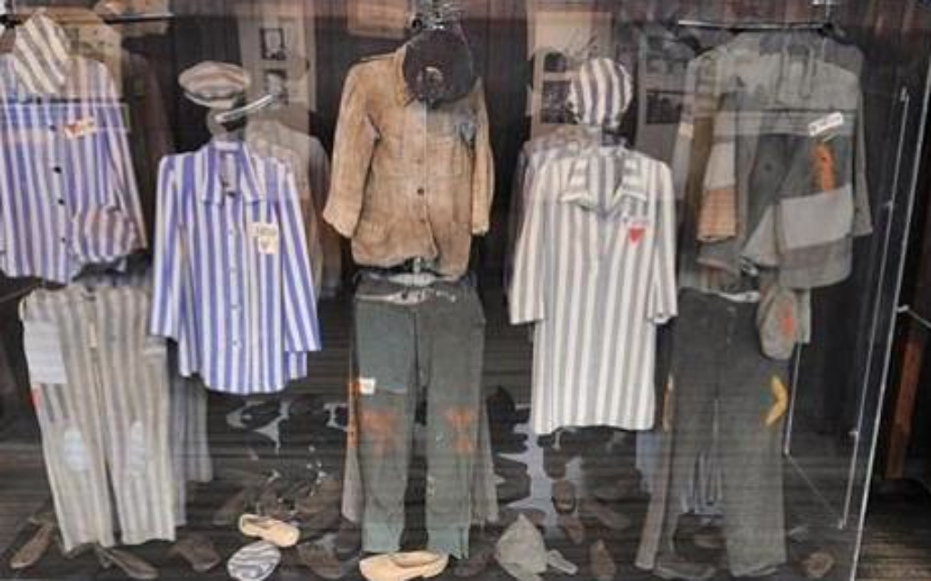 A display case at the museum of Majdanek concentration camp