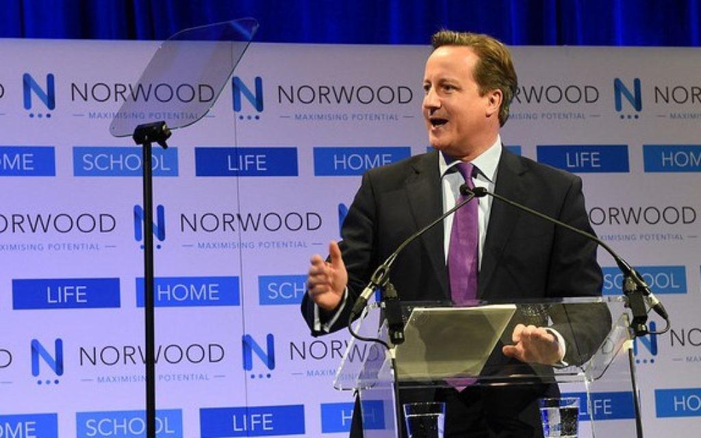 Prime Minister David Cameron addresses a Norwood dinner.