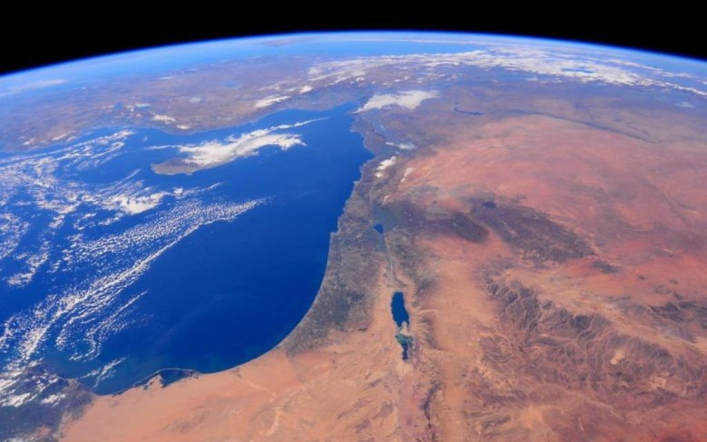 Israel in the centre, mediterranean sea on the left. (Picture: NASA/Barry Wilmore)