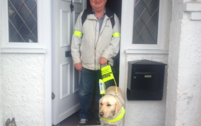 Mr Sheridan with Mia, his guide dog.