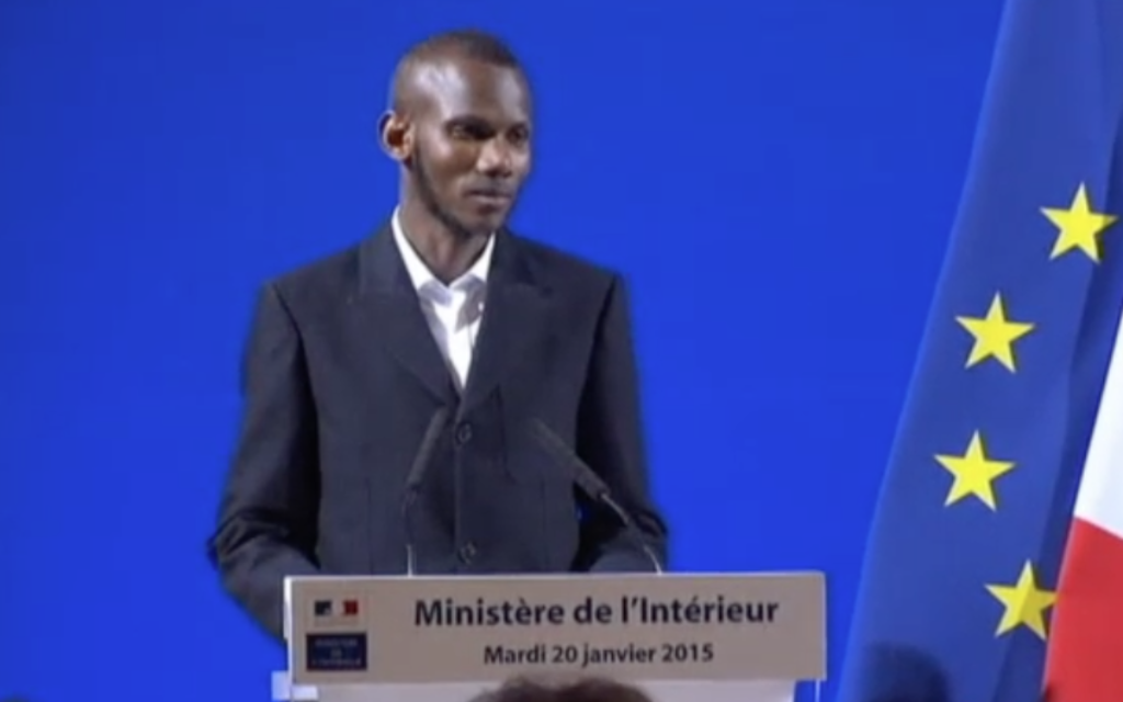 Screenshot from the video of Lassana Bathily receiving his citizenship