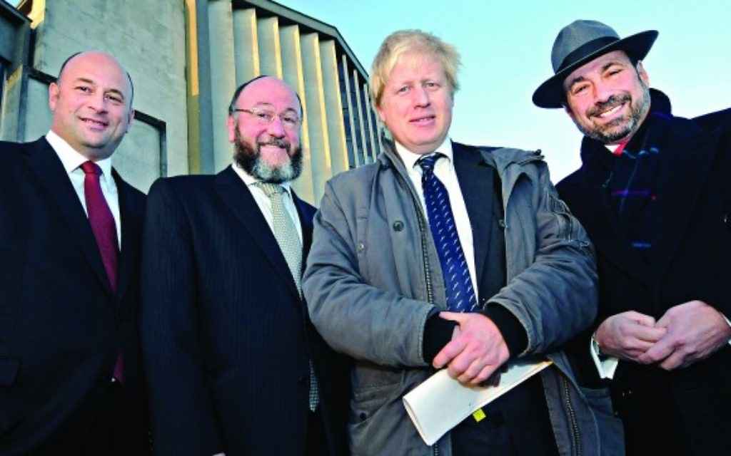 Chief Rabbi Ephraim Mirvis, Mayor Boris Johnson and US President Stephen Pack at Kinloss