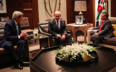Prime Minister Benjamin Netanyahu with King Abdullah of Jordan and U.S. Secretary of State John Kerry in Amaan