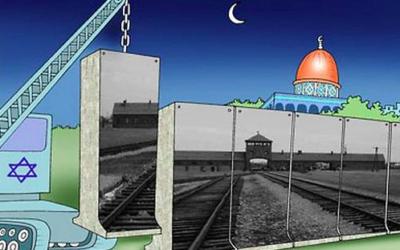 2006 winner of the Holocaust Cartoon Contest, by Abdellah Derkaoui of Morocco
