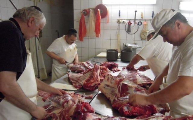 Kosher meat being prepared