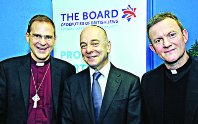 Outgoing Board of Deputies President Vivian Wineman with Reverend Toby Howarth and Reverend Mark Poulson at a Board interfaith event held in January.