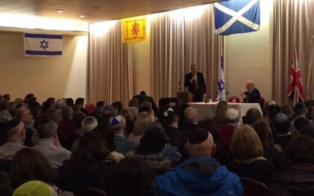 Ambassador Taub speaks to Glasgow's Jewish community (Embassy of Israel, London)