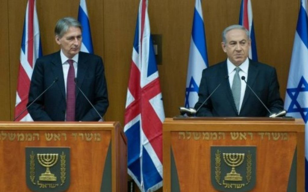 Foreign Secretary Philip Hammond with Netanyahu
