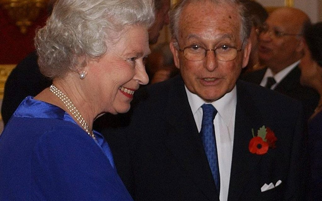 Lord Janner with the Queen at a reception to mark the 21st anniversary of the Commonwealth Jewish Council at St James's Palace.