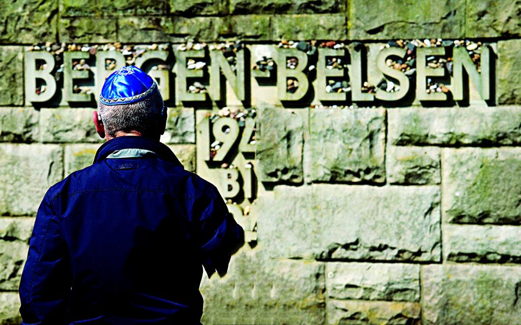 Holocaust survivor at the Bergen-Belsen memorial.