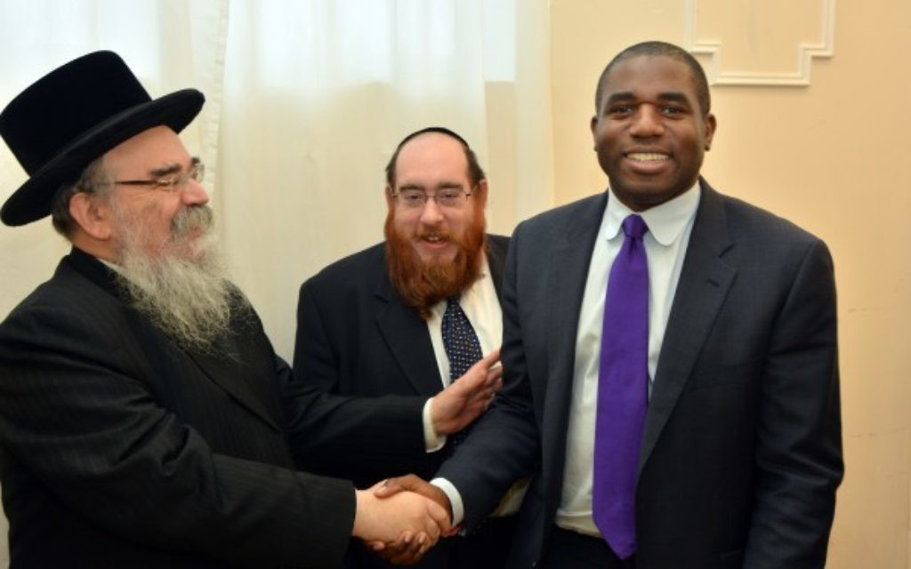 L-R Rabbi Abraham Pinter, Shmuel  Davidsohn, David Lammy MP.  picture credit of Henry Jacobs.