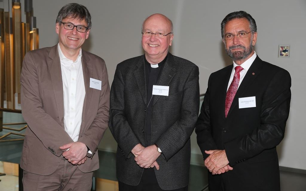 (L-R) Dr Edward Kessler MBE, The Most Revd Kevin McDonald, Rabbi David Rosen CBE KSG