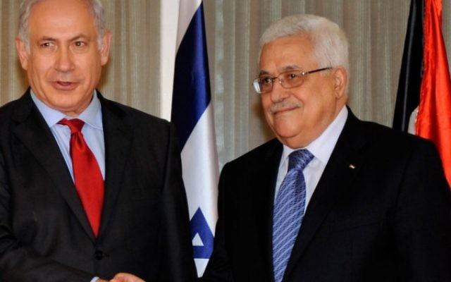 Benjamin Netanyahu with Mahmoud Abbas
